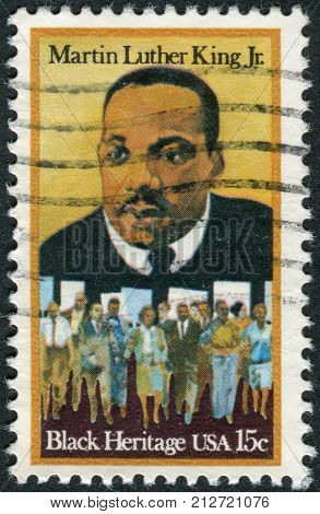 Usa - Circa 1979: Postage Stamp Printed In Usa, Shows Dr. Martin Luther King, Jr. And Civil Rights M