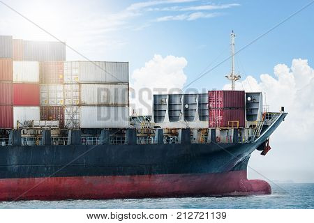 Logistics import export concept and transport industry of container cargo freight ship in the ocean at blue sky, Freight transportation, Shipping
