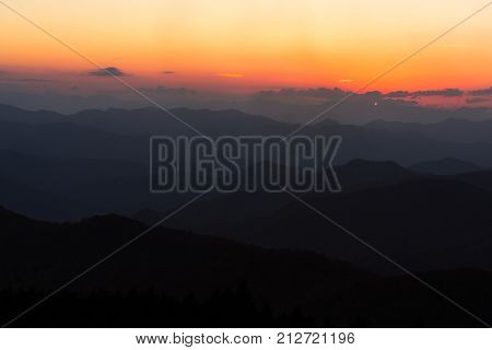 The Blue Ridge Mountains at sunset along the Blue Ridge Parkway