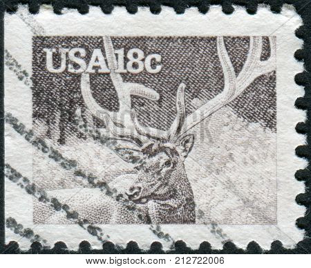 Usa - Circa 1981: Postage Stamp Printed In Usa, Shows The Elk Or Wapiti (cervus Canadensis), Circa 1
