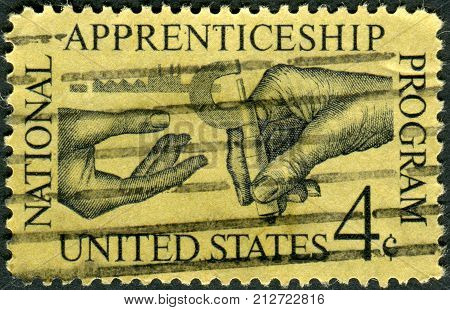 Usa - Circa 1962: Postage Stamp Printed In Usa, Dedicated To The Natl. Apprenticeship Program And 25