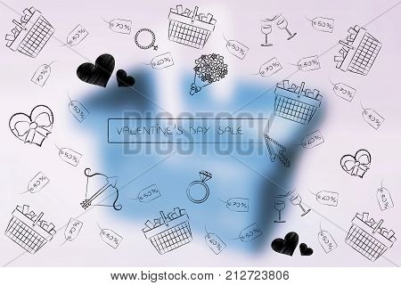 Valentines Day Symbols And Search Bar With Sales Price Tags And Carts