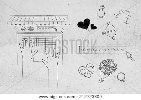 Valentines Day Symbols With Search Bar And Laptop User On Online Store