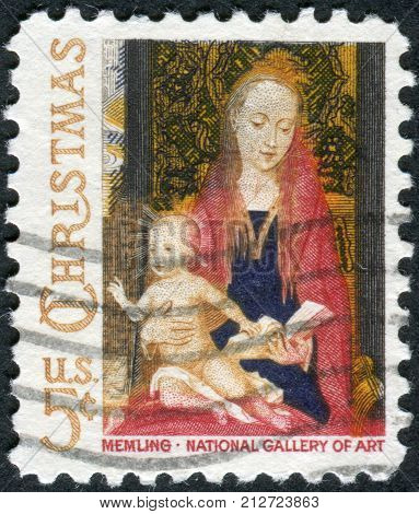 Usa - Circa 1966: Postage Stamp Printed In Usa, Christmas Issue, Shows A Picture Of The National Gal