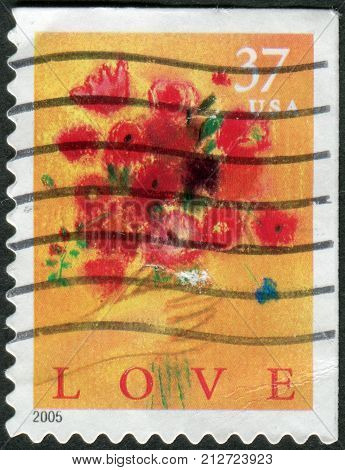 Usa - Circa 2005: Postage Stamp Printed In Usa, Shows Hand And Flower Bouquet, Circa 2005