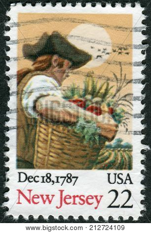 Usa - Circa 1987: Postage Stamp Printed In Usa, Dedicated To The 200Th Anniversary Of The Ratificati