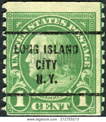 Usa - Circa 1923: Postage Stamp Printed In The Usa (precancel, Long Island City, Ny), A Portrait Of