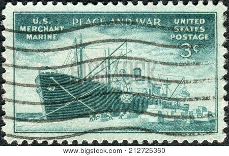 Usa - Circa 1946: Postage Stamp Printed In Usa, Dedicated To The Achievements Of The U.s. Merchant M
