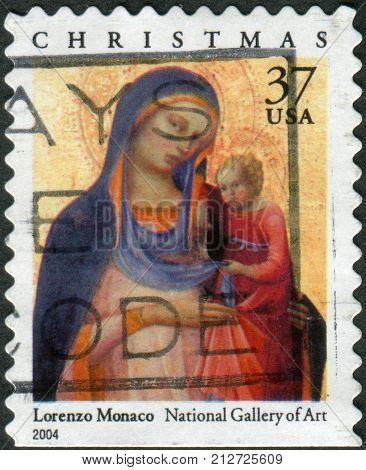 Usa - Circa 2004: Postage Stamp Printed In Usa, Christmas Issue, Shows A Picture Of The National Gal