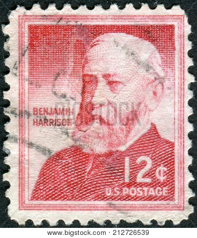 Usa - Circa 1959: Postage Stamps Printed In Usa, Shows A Portrait 23Rd President Of The United State