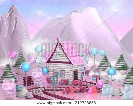 Fantasy food landscape. Sweet candy house surrounded by lollipop, candy canes and caramels. Candy land 3D illustration