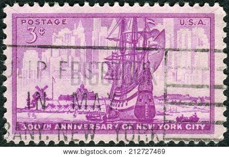 Usa - Circa 1953: Postage Stamp Printed In Usa, Dedicated To The 300Th Anniversary New York City, Sh