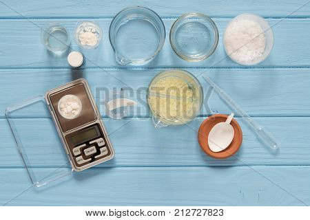 Ingredients for production of natural beauty cosmetics, top view