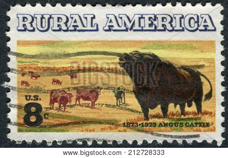 USA - CIRCA 1973: Postage stamp printed in the USA devoted to the centenary of introduction of Aberdeen Angus cattle to US shows Angus and Longhorn Cattle circa 1973