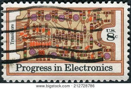 USA - CIRCA 1973: A postage stamp printed in USA shows Transistors and Printed Circuit Board circa 1973