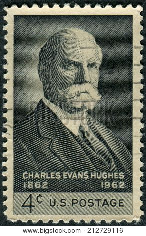 USA - CIRCA 1962: Postage stamps printed in USA shows the 36th Governor of New York and 11th Chief Justice of the United States Charles Evans Hughes circa 1962