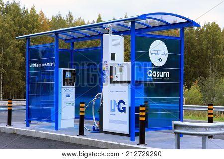 JYVASKYLA FINLAND - SEPTEMBER 22 2017: LNG Liquified natural gas dispenser for heavy duty vehicles at Gasum filling station in Jyvaskyla Finland.