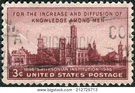 USA - CIRCA 1946: Postage stamp printed in the USA dedicated to the Centenary of the establishment of the Smithsonian Institution Washington shows the building Smithsonian Institution circa 1946