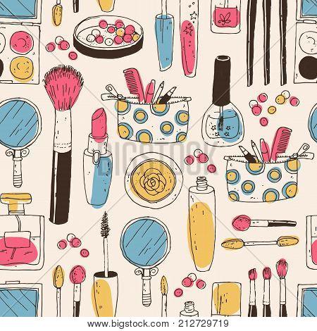 Hand darwn vector cosmetic seamless pattern. Cosmetic tools and products, perfume, lipstick, brushes, powder, blush, eye shadow, lip gloss nail polish Pastel colors