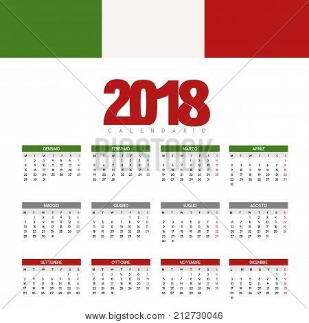 Colorful calendar for the new year - 2018 Italy
