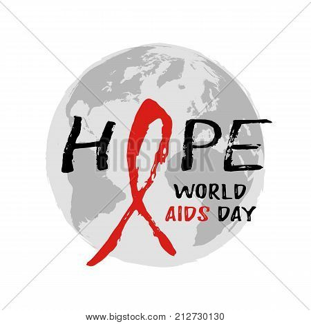 Round logo with Earth globe and red AIDS ribbon from hand written brush strokes on white background. World AIDS day in December 1st. Vector illustration