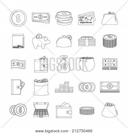 Money types icons set. Outline illustration of 25 money types vector icons for web