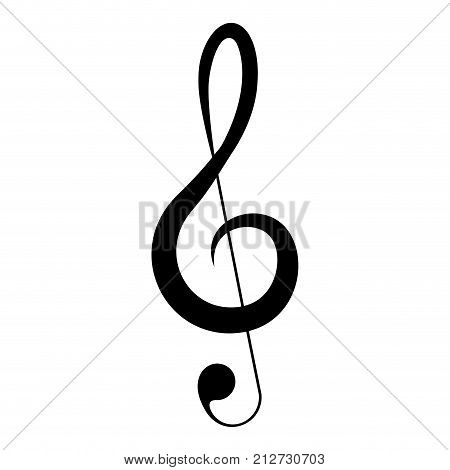 Isolated musical note, treble clef, Vector illustration