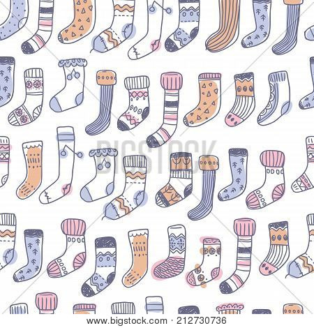 Seamless pattern with naive cute doodle socks. Scandinavian style. Sketchy craft simple style.
