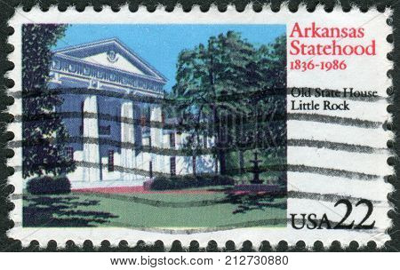 USA - CIRCA 1986: Postage stamp printed in the USA dedicated to the 150th Anniversary Arkansas Statehood shows Old State House Little Rock circa 1986