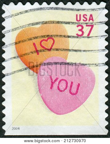 USA - CIRCA 2004: Postage stamps printed in USA shows Candy Hearts circa 2004