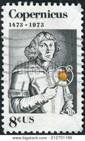 USA - CIRCA 1973: A postage stamp printed in USA shows Nicolaus Copernicus Polish astronomer circa 1973