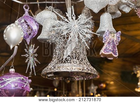 Christmas balls traditional decorations for Christmas tree purple silver combination Czech republic