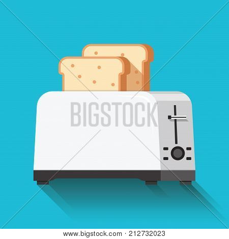 Toaster and bread icon. Flat Design. Vector illustration.