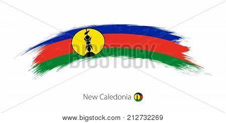 Flag Of New Caledonia In Rounded Grunge Brush Stroke.