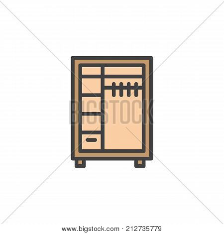 Closet filled outline icon, line vector sign, linear colorful pictogram isolated on white. Wardrobe symbol, logo illustration. Pixel perfect vector graphics