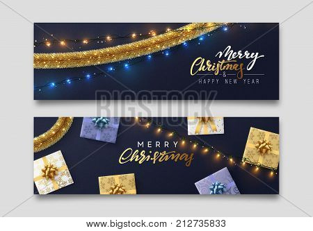 Christmas banner, Xmas sparkling lights garland with gifts and golden tinsel. Christmas posters, cards, headers website.
