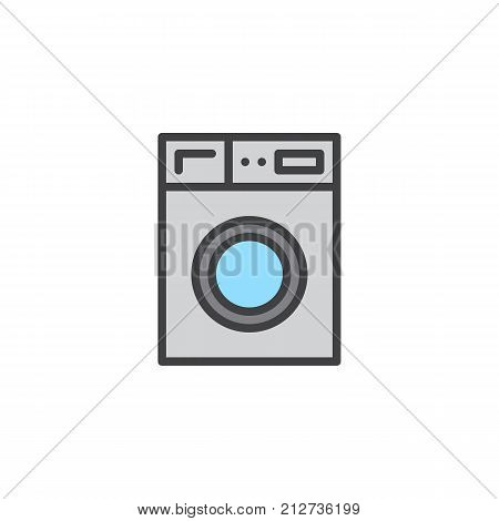 Washer machine household equipment filled outline icon, line vector sign, linear colorful pictogram isolated on white. Laundry symbol, logo illustration. Pixel perfect vector graphics