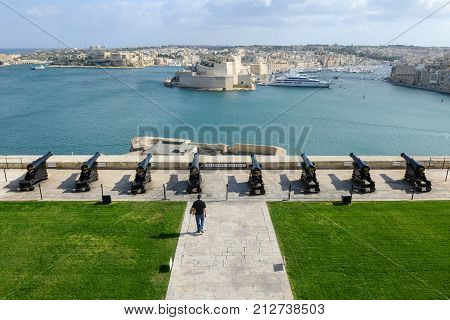 View Of Vittoriosa From La Valletta On Malta