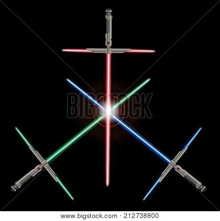 A set of 3 sci-fi light sword future type weapons with a light blade isolated on a black background