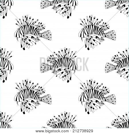 Vector seamless pattern from black and white lion fish. Cartoon Pterois volitans