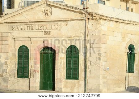 Sea Water Distilling Plant, Built 1881. Sliema, Malta.