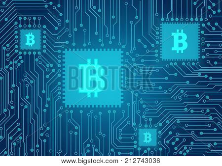 Bitcoin concept vector illustration. Cryptocurrency electronic payments. Bitcoin sign on the computer processor. Blockchain technology