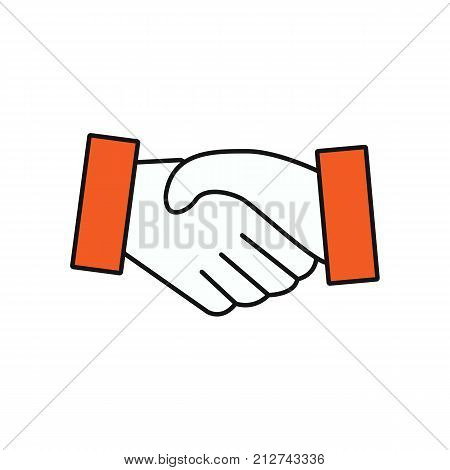 Handshake icon flat. Business concept. Vector stock.