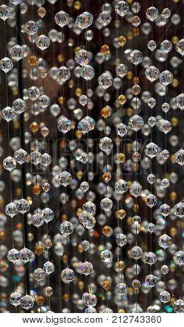 Swarovski crystal beaded curtain. Bead curtains pattern texture background