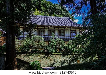 One of the many halls of Engakuji a zen monestary in Kamakura Japan. Engakuji is one of the largest and most important Zen temples in Japan.