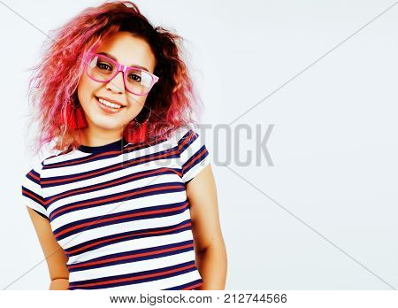 young happy smiling mulatto latin american teenage girl emotional posing on white background, lifestyle people concept close up