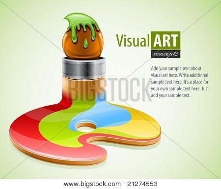 paint brush as symbol of visual art vector illustration