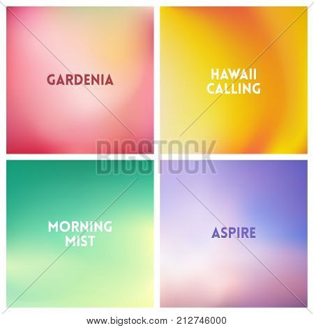 Abstract vector multicolored blurred background set. 4 colors set.