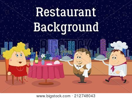 Respectable Fat Lady in Red, Sitting Behind Table While Waiter and Cook Brings Her Dishes in Open-Air Restaurant with View on Night City. Cartoon Background. Eps10, Contains Transparencies. Vector