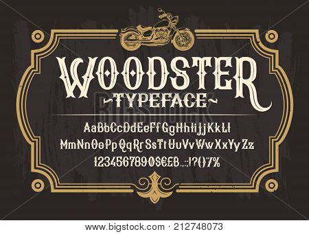 Vector white serif font, the Latin alphabet, numbers and symbols on a black background in a retro frame with a custom motorbike. Vintage signboard for moto club, motorcycle repair shop